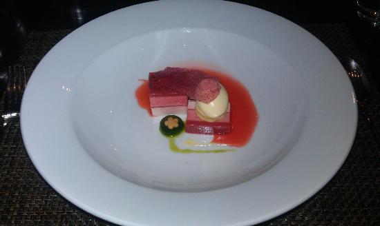 Castle Terrace Restaurant: Dessert: Panna Cotta of strawberries from Blacketyside Farm, served with coriander jelly and a c