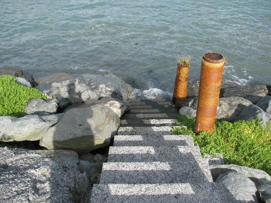 Angels Rest on Resurrection Bay, LLC: steps down to shore at high tide