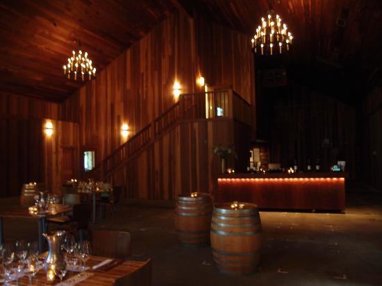 Lambert Bridge Winery: Barrel room