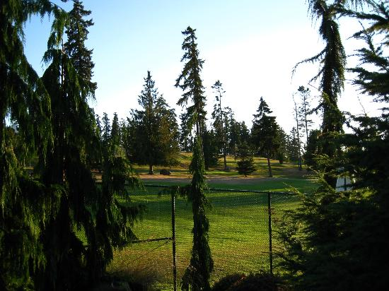 Olympic Lodge: golf course just behind hotel