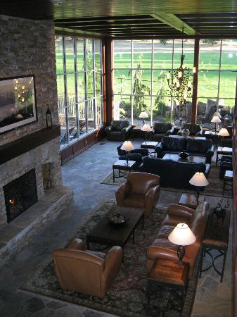 Olympic Lodge : length of lobby with fireplace lit