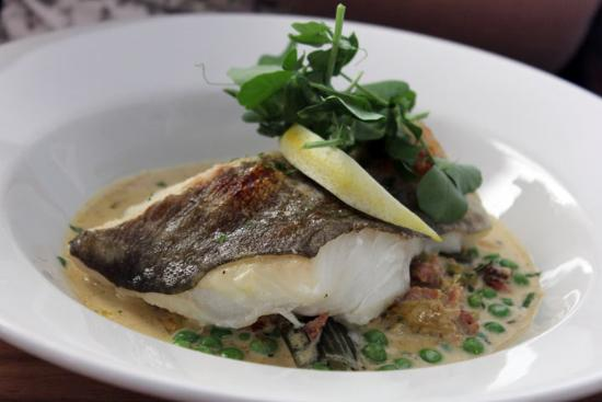 Cafe Fish : Cod with cream pea bacon and leek sauce