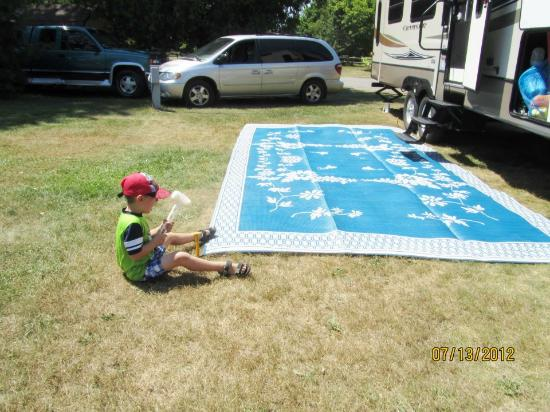 Brimley State Park : Our grandson helping set up