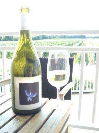 Bedell Cellars: View of the vineyard with their bottle of 2010 Gallery.