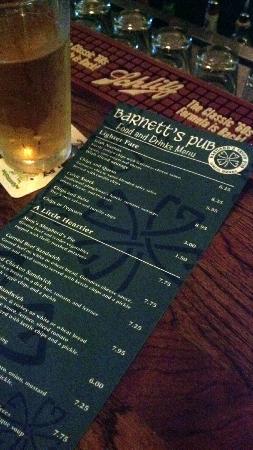 Barnett's Pub : menu