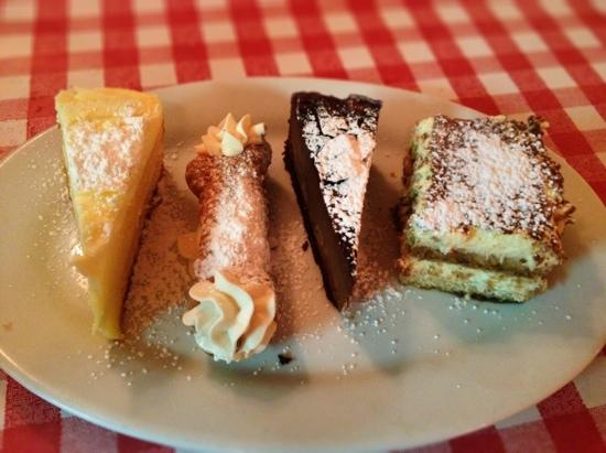Danny's Fettuccine Bar: Lemoncello cake, Cannoli, Chocolate Mousse cake & Tiramisu