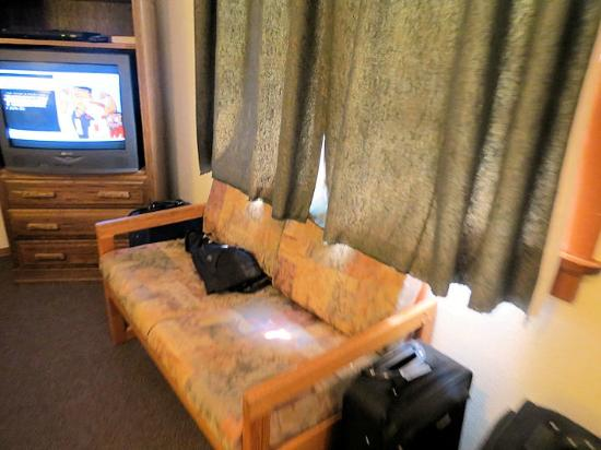 ‪‪Hillcrest Cottages‬: Sofa and TV in front of beds