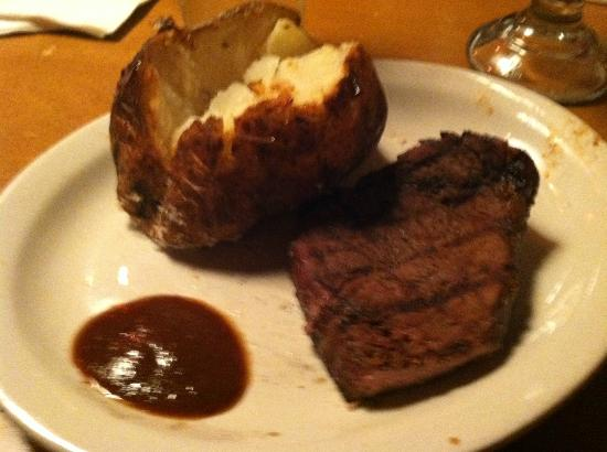 Texas Roadhouse: No garnish, no fixings for the potato, tried to dress it up with some A-1 myself