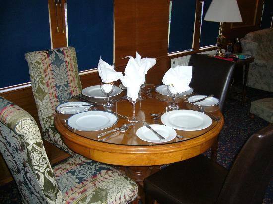 End of the Line Railway Accommodation: Dining Table (set for 4 with friends staying in the signal box)