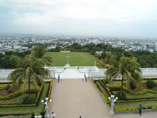 Taj Falaknuma Palace: a view of the grounds