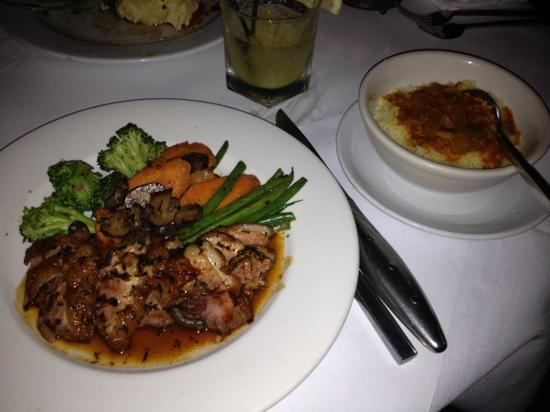 Barbes Restaurant: duck breast entree with a side of couscous