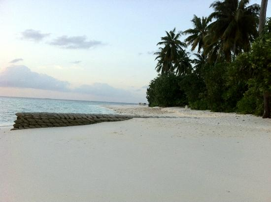 Jumeirah Dhevanafushi: The beach at the north is full of sandbags