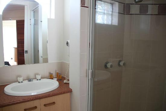 Rays Resort Apartments: 洗面台とシャワールーム