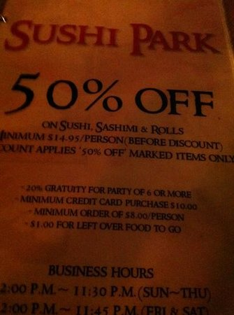 Sushi Park: front cover of menu