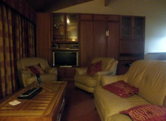 Hilton Grand Vacations Club at Craigendarroch Lodges: lounge with TV and DVD player and pull down bed