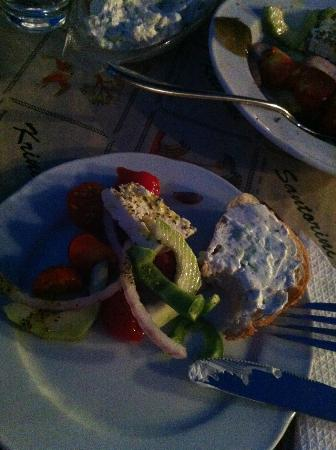 Krinaki: Greek Salad and Bread with Tzatziki