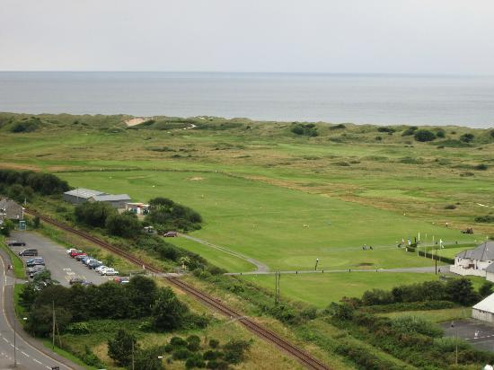 Royal St. David's Golf Club: Practise ground from Harlech Castle