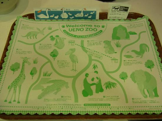 Ueno Zoo: Rough map on food tray in cafeteria
