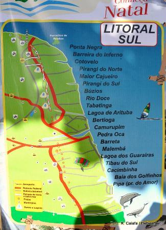 Pirangi do Norte, RN: Placa ilustrativa das atrações do litoral de Natal, Rio Grande do Norte