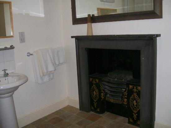 Golden Fleece: old fireplace in bathroom of the shambles room