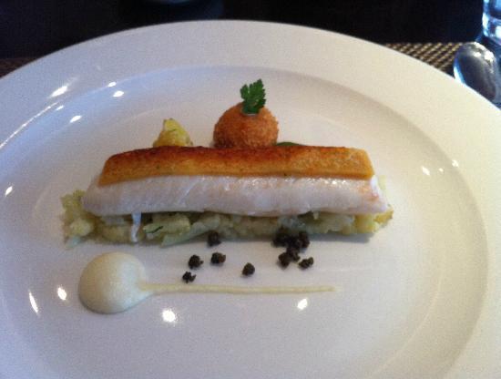 "Castle Terrace Restaurant: Fillet of plaice with ""cauliflower chees"" four ways."