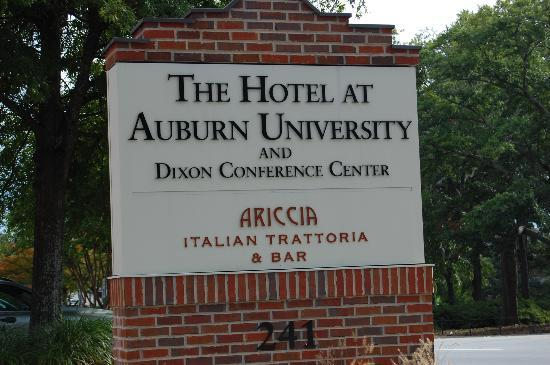 The Hotel at Auburn University: Hotel sign entrance.