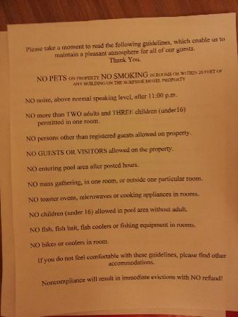 Surfside Motel: List of rules provided at checkin