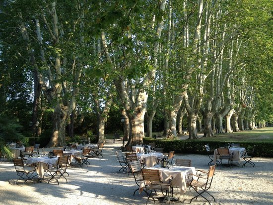 Le Chateau des Alpilles: The lovely outdoor patio for dining