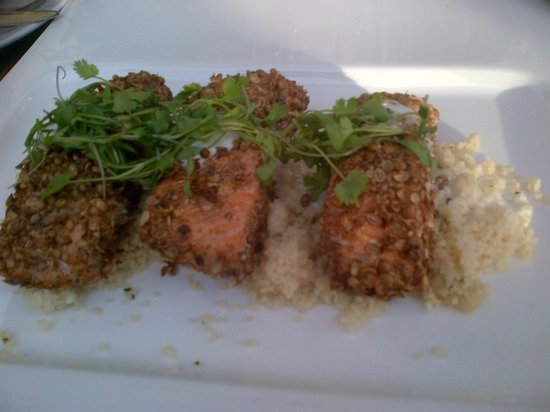 ... salmon fillets with a coriander seed rub, lemon cous cous and a lime