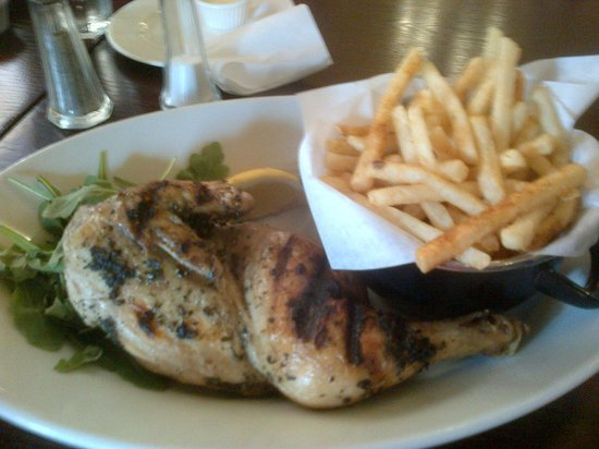 Cafe Rouge - Knightsbridge : Half a garlic and thyme chicken with french fries.
