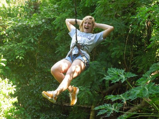 Jungle Top Zipline Adventure: Chillin' on the zipline