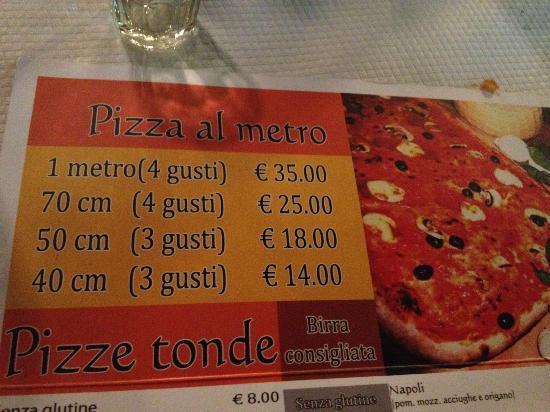 Metropizzeria Gabbiano Rosso: pizza sizes and prices