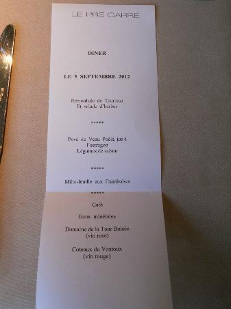Le Pre Carre: Our Menu