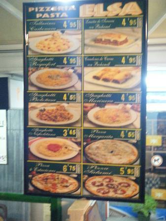 Elsa: Food menu