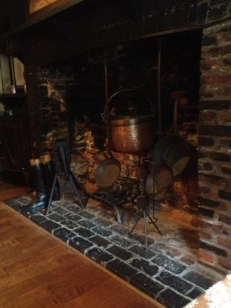 Treaty of Paris: awesome old fireplace is one of the many antique touches