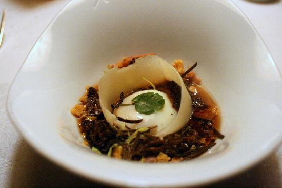The Inn at Little Washington: Poached egg in oxtail soup