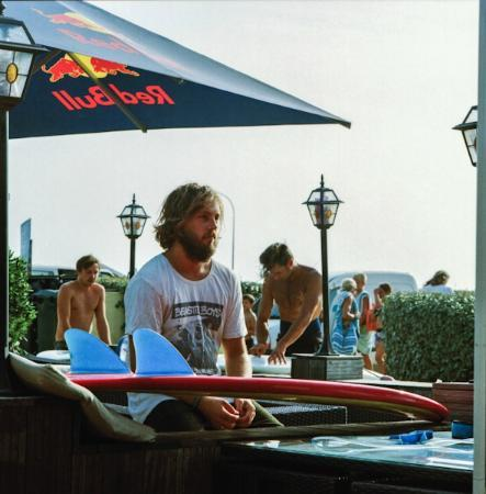 Le Surfing: Chilling on the lawn terrace before a surf.