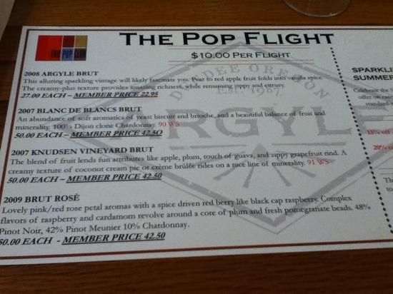 Argyle Winery: menu on May 2012