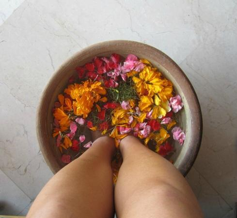 Alam Ubud Culture Villas & Residences: welcome foot bath