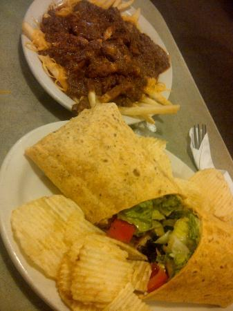 Skyline Chili: Greek Chicken Wrap with chips - and chili cheese fries.