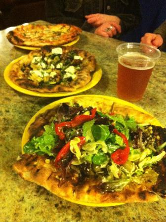 Maine Grind: Pizzas, beer, Salad topped pizzas