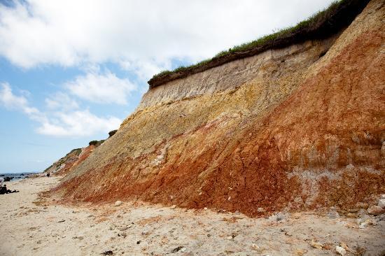 Aquinnah, MA: red clay in the cliffs