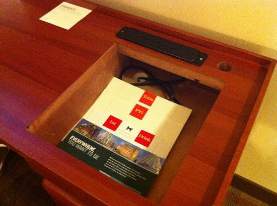 Four Points by Sheraton Kamloops: Hole in the desk - part of a reno?