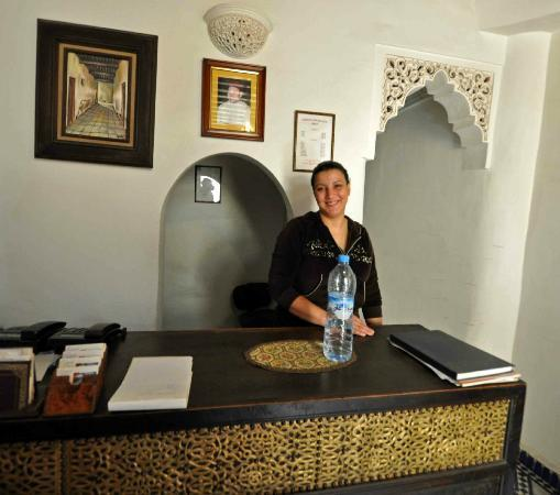 Riad Dar Dmana: A warm smile awaits you on check in and other days. One of the owner's family. Very nice lady!