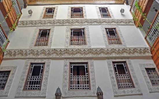 Riad Dar Dmana: Looking up at the three tiers is great!