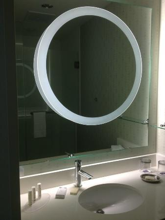 SpringHill Suites Dallas Richardson/Plano: Lighted mirror in the shower chamber; note the towel bar in the reflection-the only one in the r