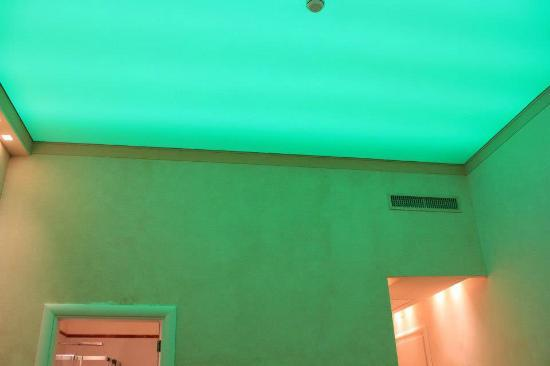 Aurora Hotel: Main Building Room (new) - ceiling lighting that changes colour