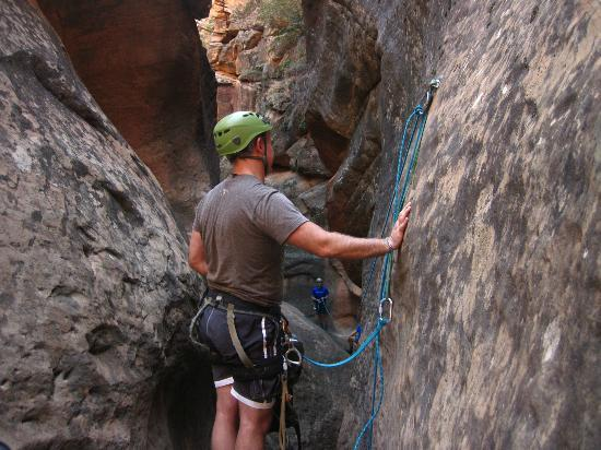 Zion Adventure Company: Running some ropes to zip-line our packs 