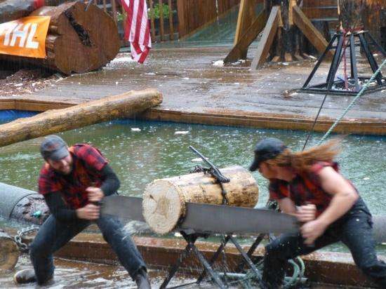 Great Alaskan Lumberjack Show: lumberjacks working hard