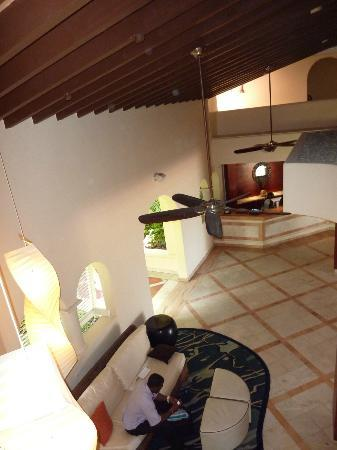 Tamarind by Elegant Hotels : Looking down on reception from balcony behind room 220